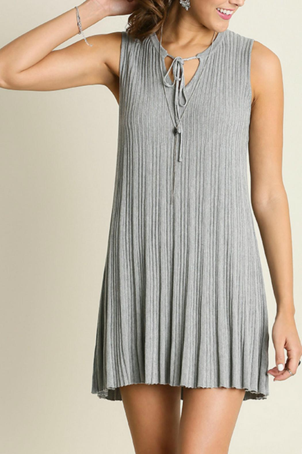 Umgee USA Sleeveless Keyhole Dress - Front Cropped Image