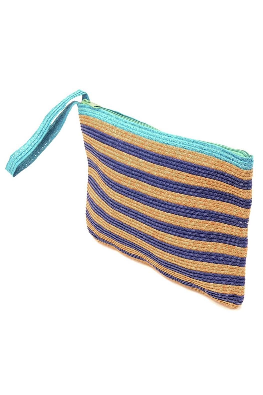 Locust Whimsy Stripped Straw Clutch - Front Full Image