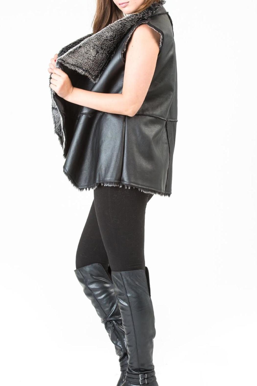 Locust Whimsy Vegan Black Vest - Side Cropped Image