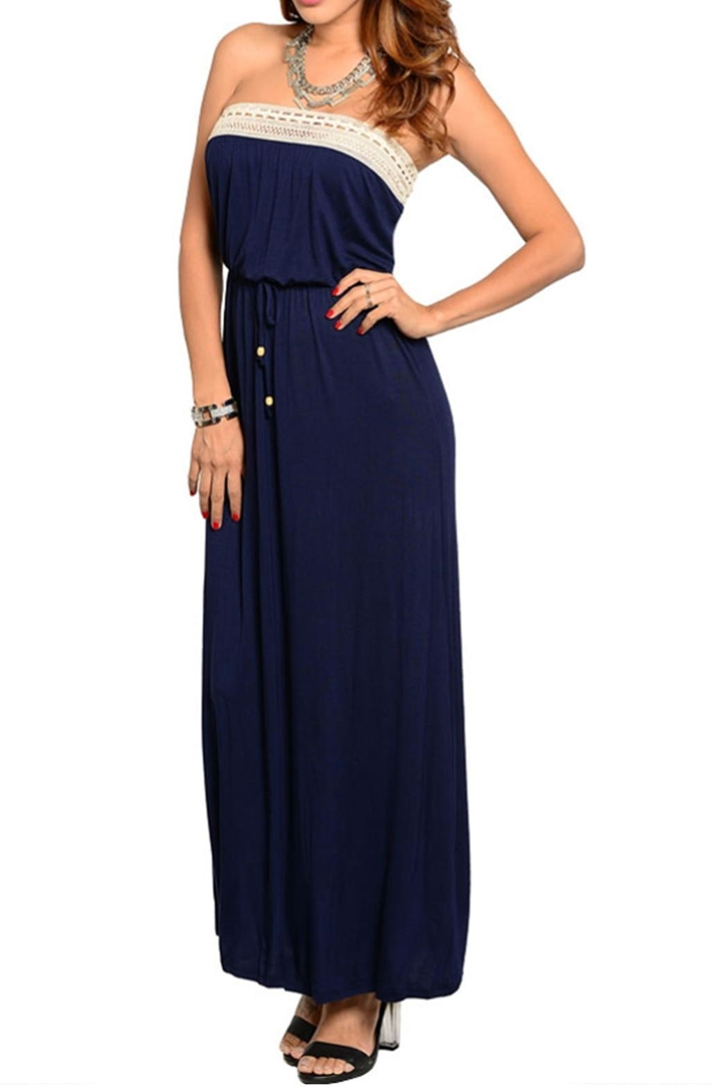 Loila Navy Maxi Dress - Front Cropped Image