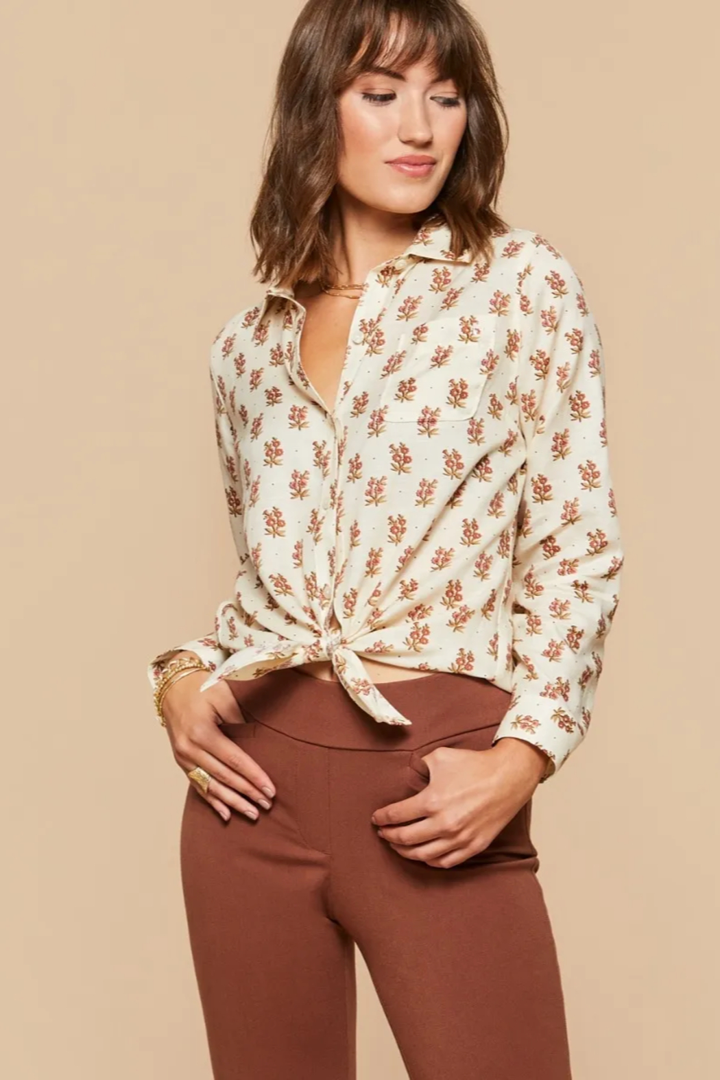 Spartina 449 Lois Shirt-Pink House Floral - Side Cropped Image