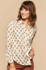 Spartina 449 Lois Shirt-Pink House Floral - Product Mini Image