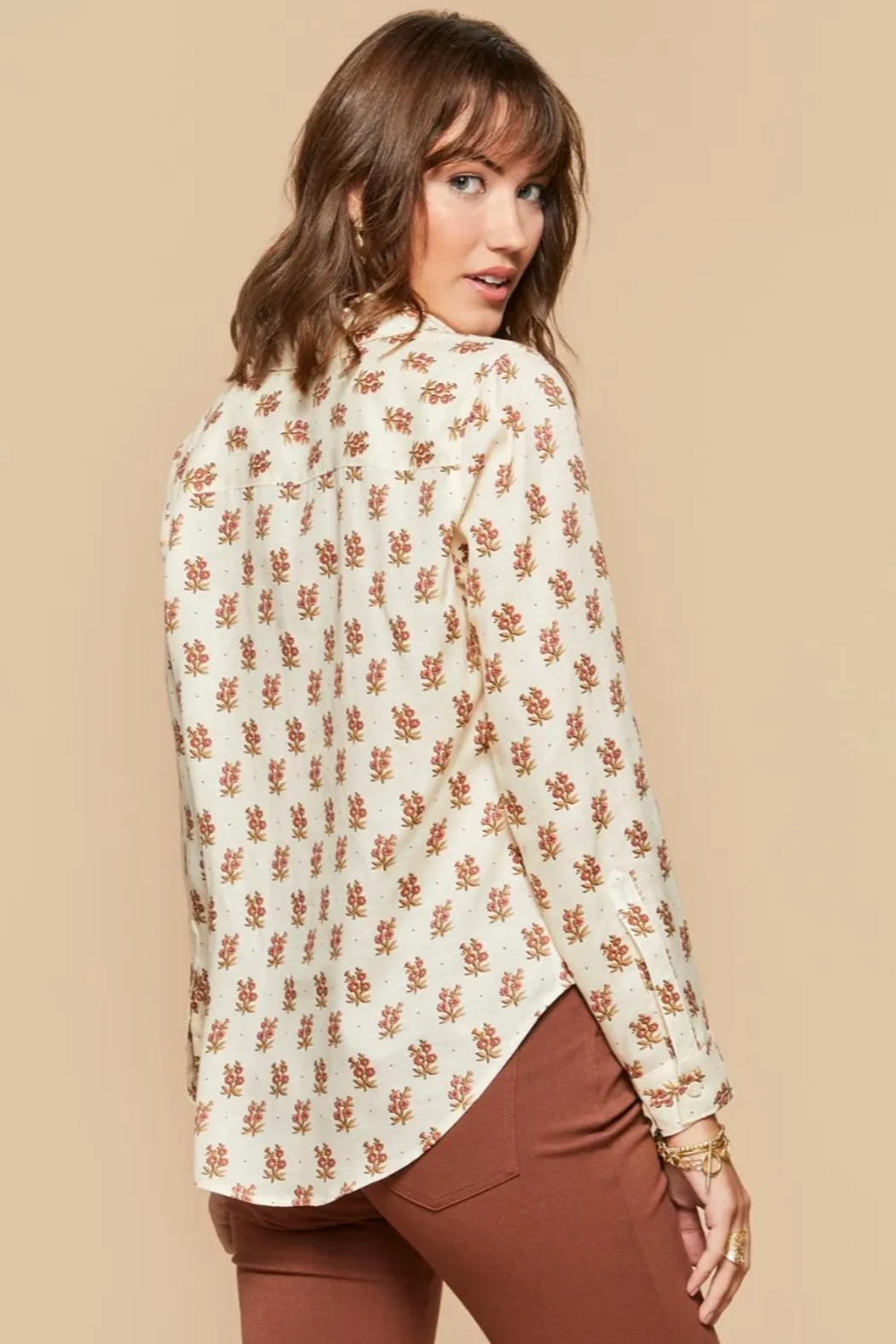 Spartina 449 Lois Shirt-Pink House Floral - Front Full Image