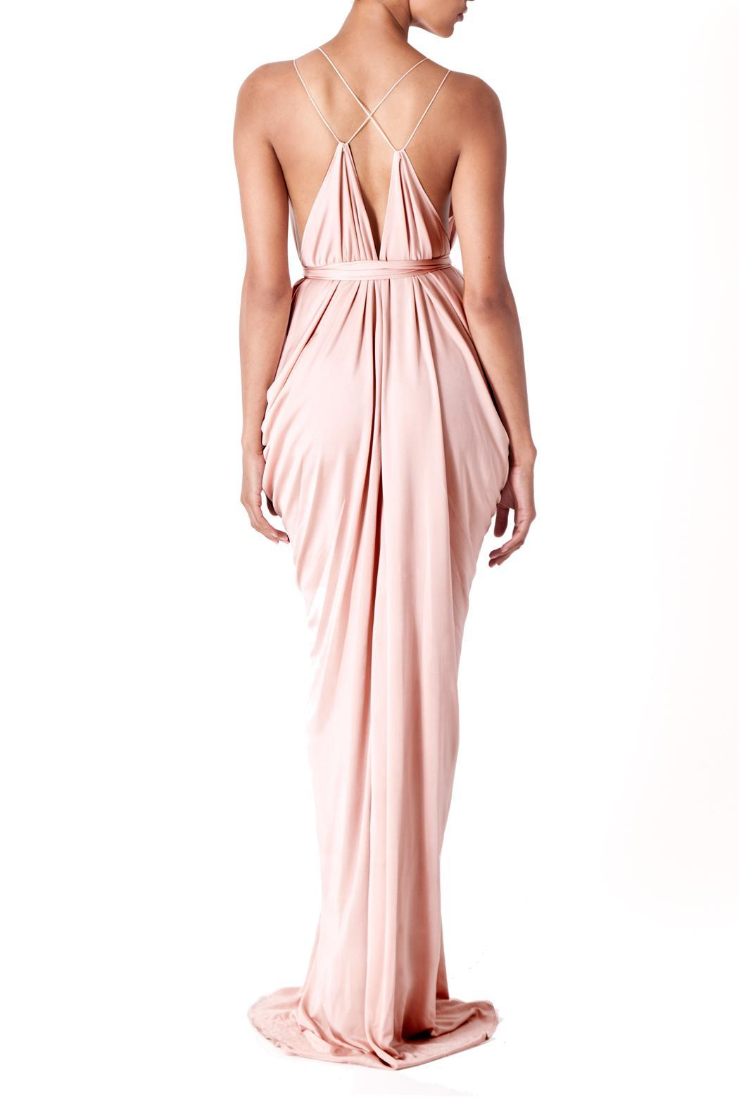 Lois London Blush Bridesmaids Dress - Back Cropped Image