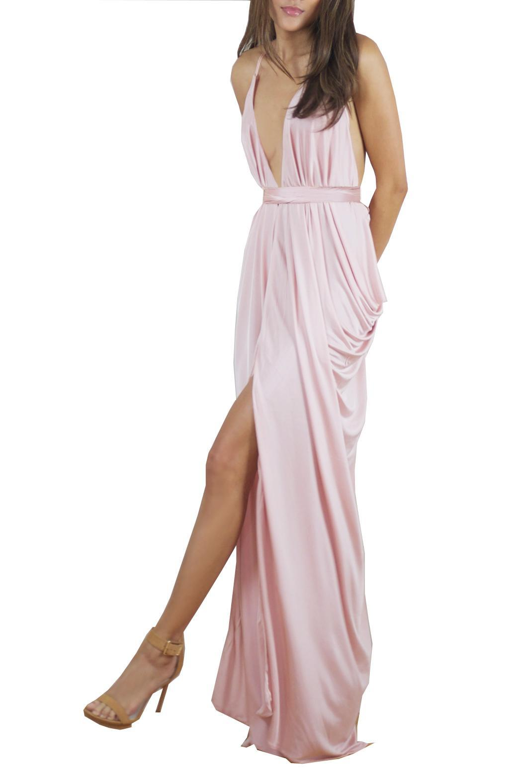 Lois London Blush Bridesmaids Dress - Side Cropped Image