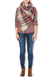 Lola Accessory Boutique Camel Plaid Blanket Scarf - Front cropped