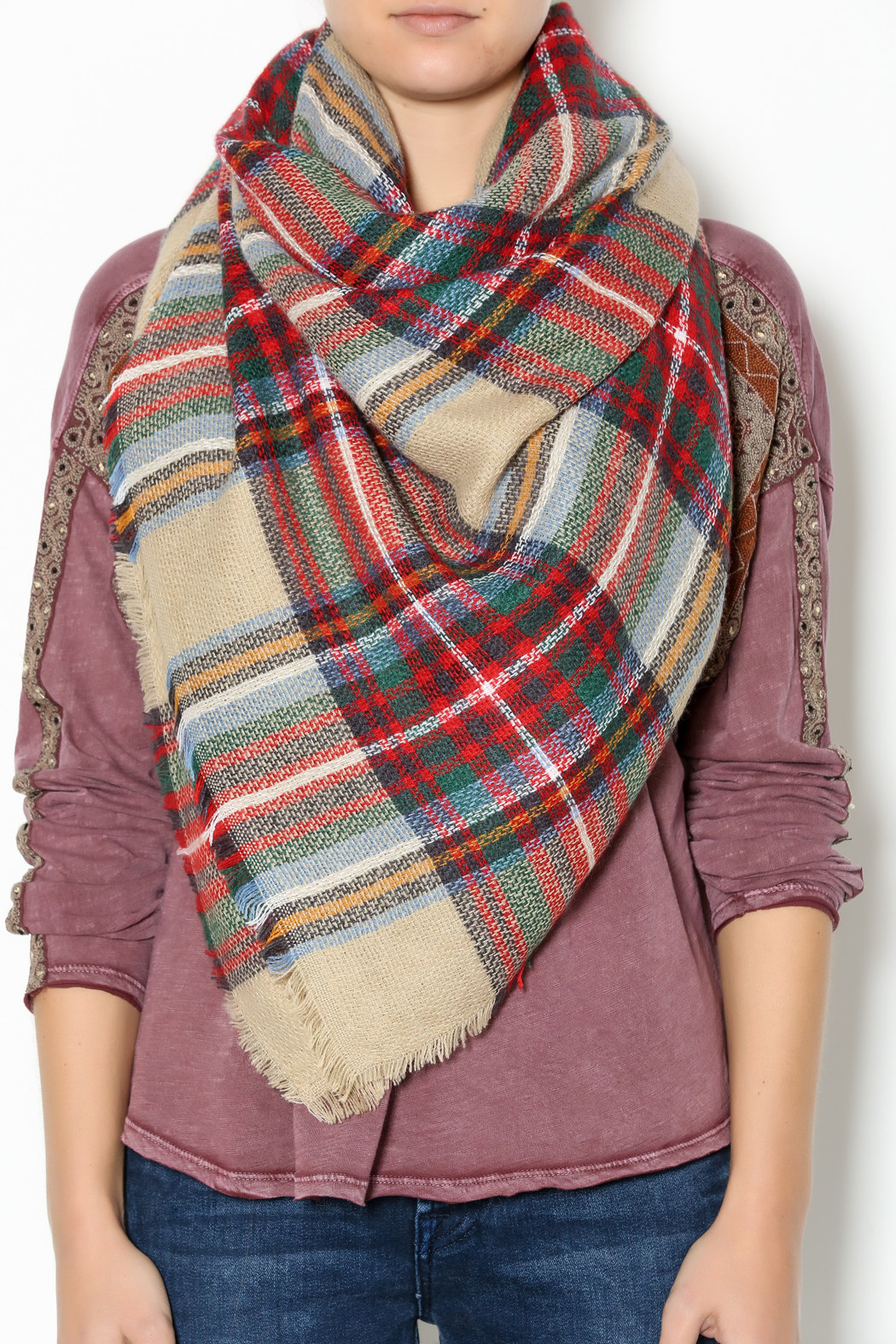 Lola Accessory Boutique Camel Plaid Blanket Scarf - Back Cropped Image
