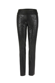 Up! Lola black leopard print metallic pants w side stripe - Product Mini Image