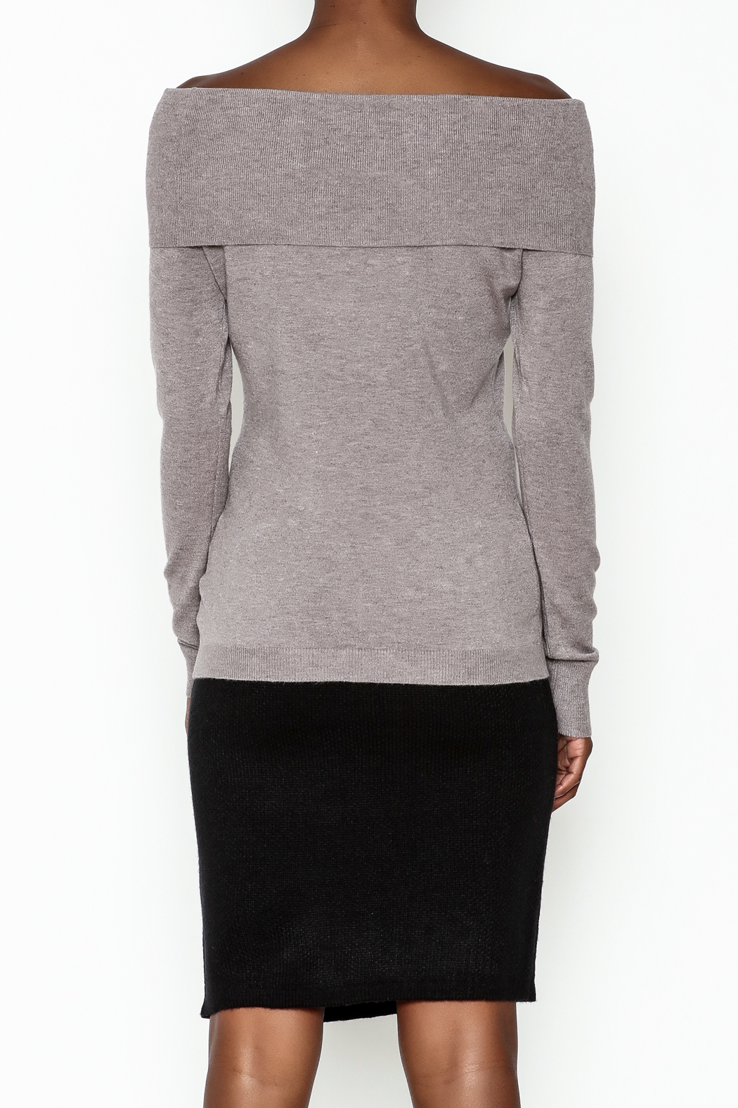 Lola Pin Detail Shoulder Sweater - Back Cropped Image