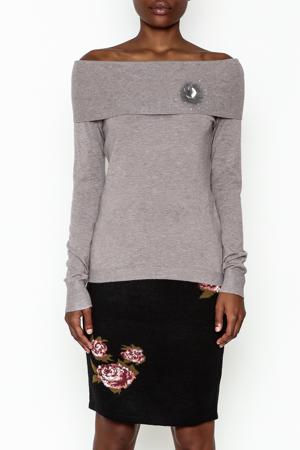 Lola Pin Detail Shoulder Sweater - Front Full Image