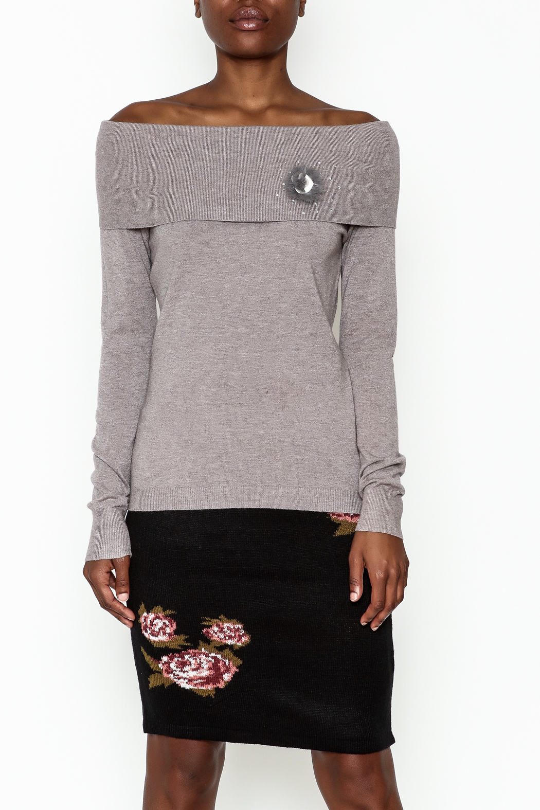 Lola Pin Detail Shoulder Sweater - Main Image
