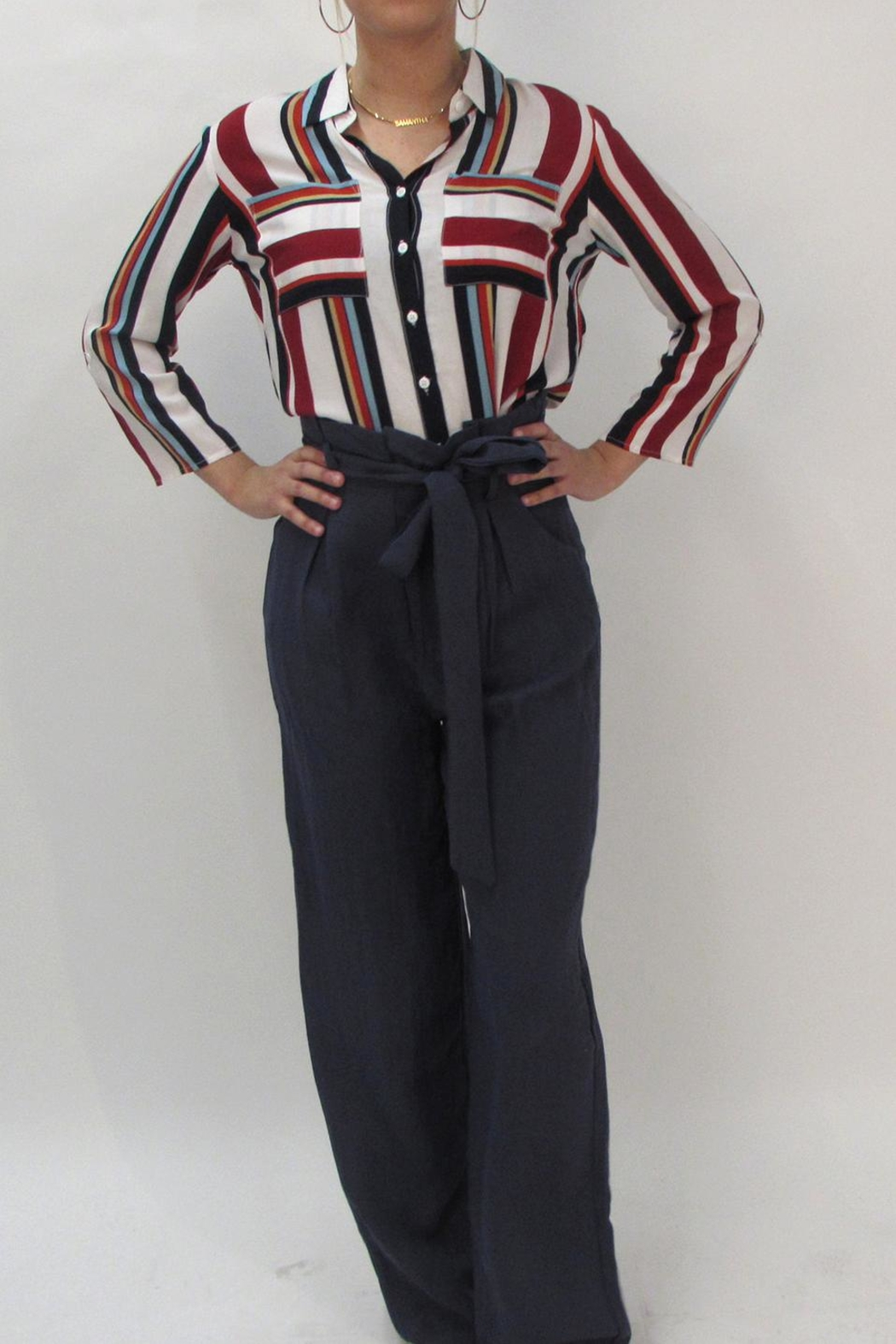 LOLA Stripe Collared Blouse - Front Full Image