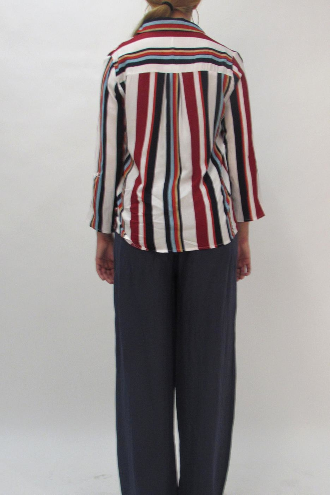LOLA Stripe Collared Blouse - Side Cropped Image