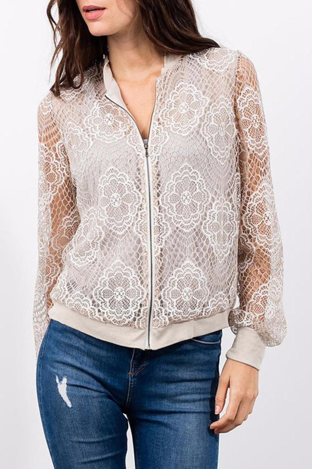 Lola & Sophie Lace Bomber - Front Cropped Image