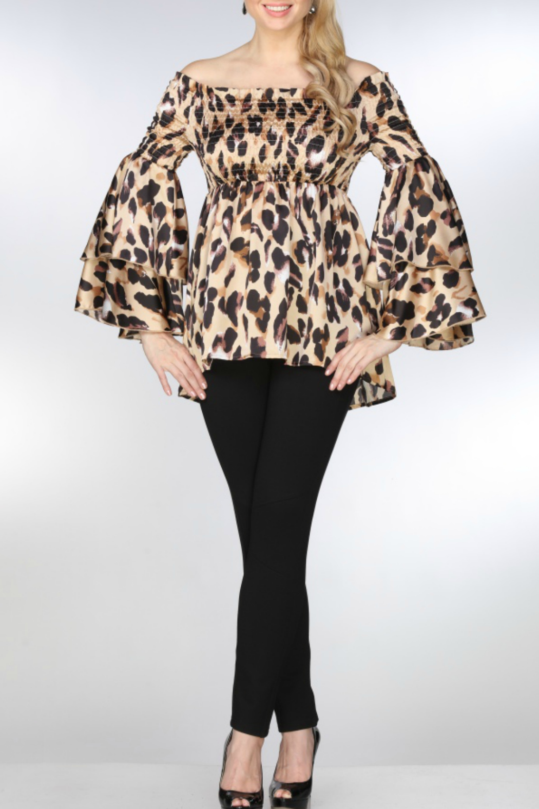 AZI Jeans Lolita Smocked Leopard OTS Top - Main Image