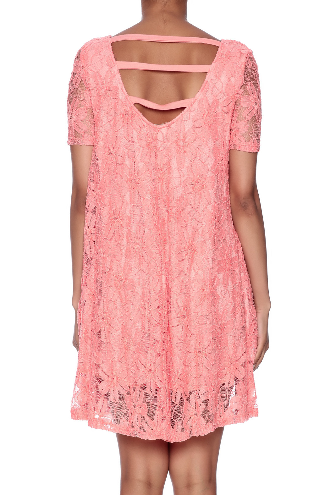 Lollipop Star Coral Lace Dress - Back Cropped Image
