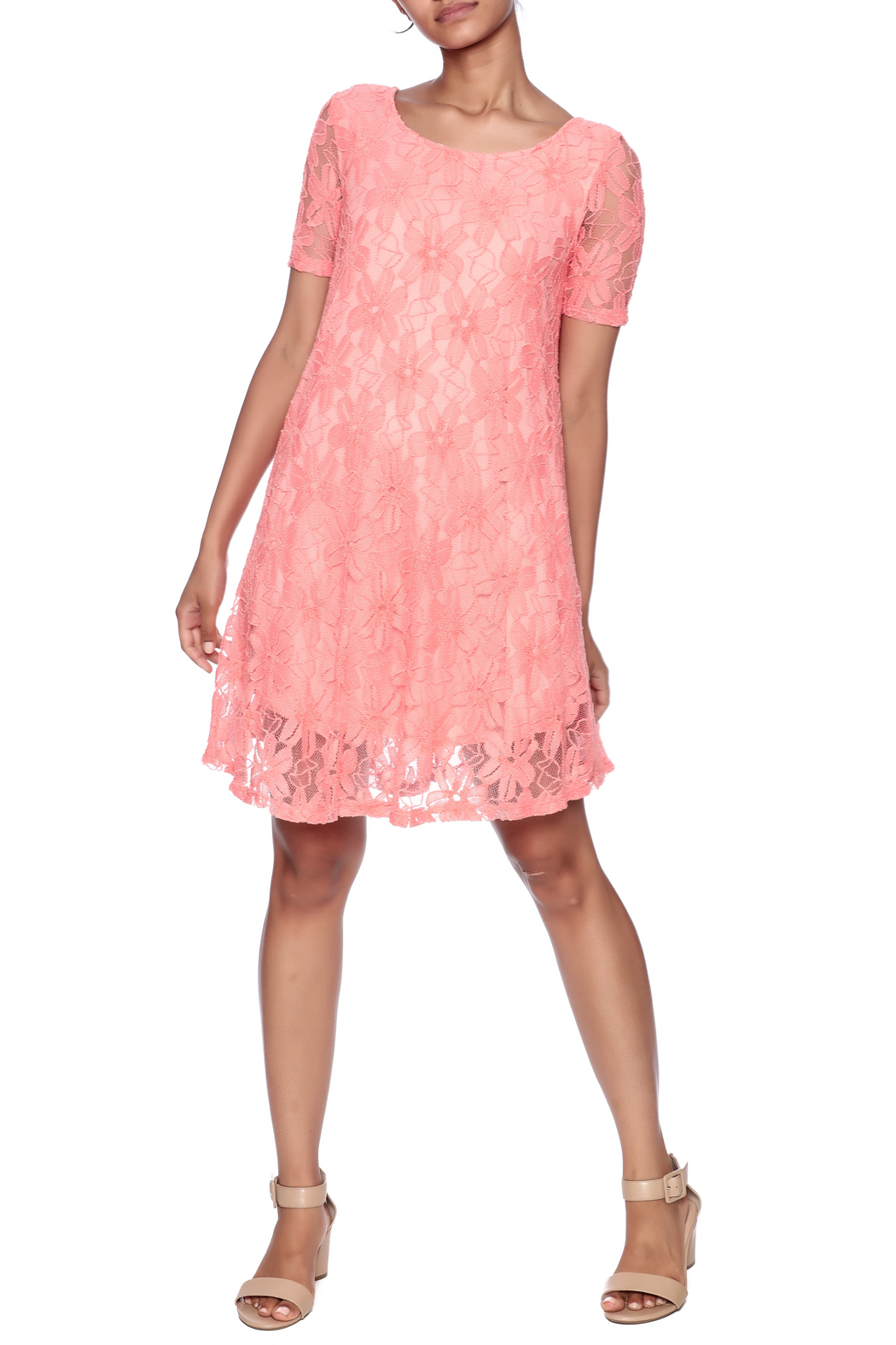 Lollipop Star Coral Lace Dress - Front Full Image