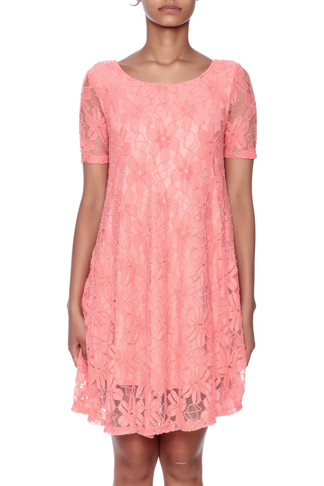 Lollipop Star Coral Lace Dress - Side Cropped Image