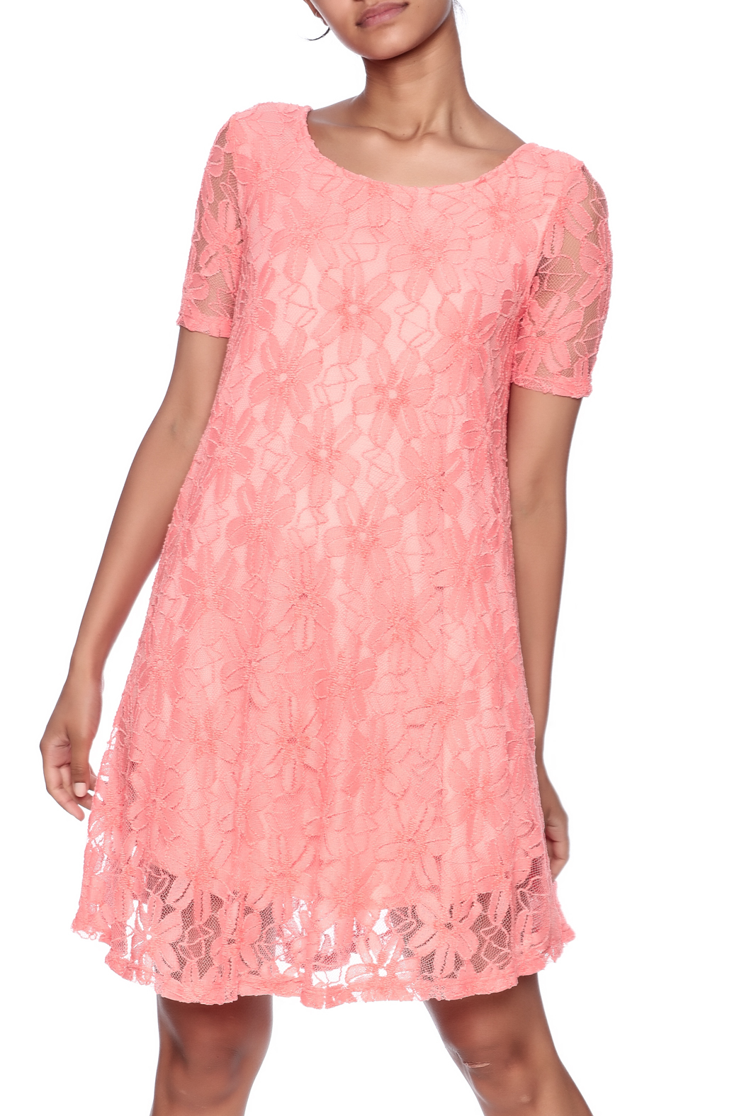 Lollipop Star Coral Lace Dress - Main Image