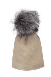Lolly Ella Chelsea Taupe Pom-Hat - Product Mini Image