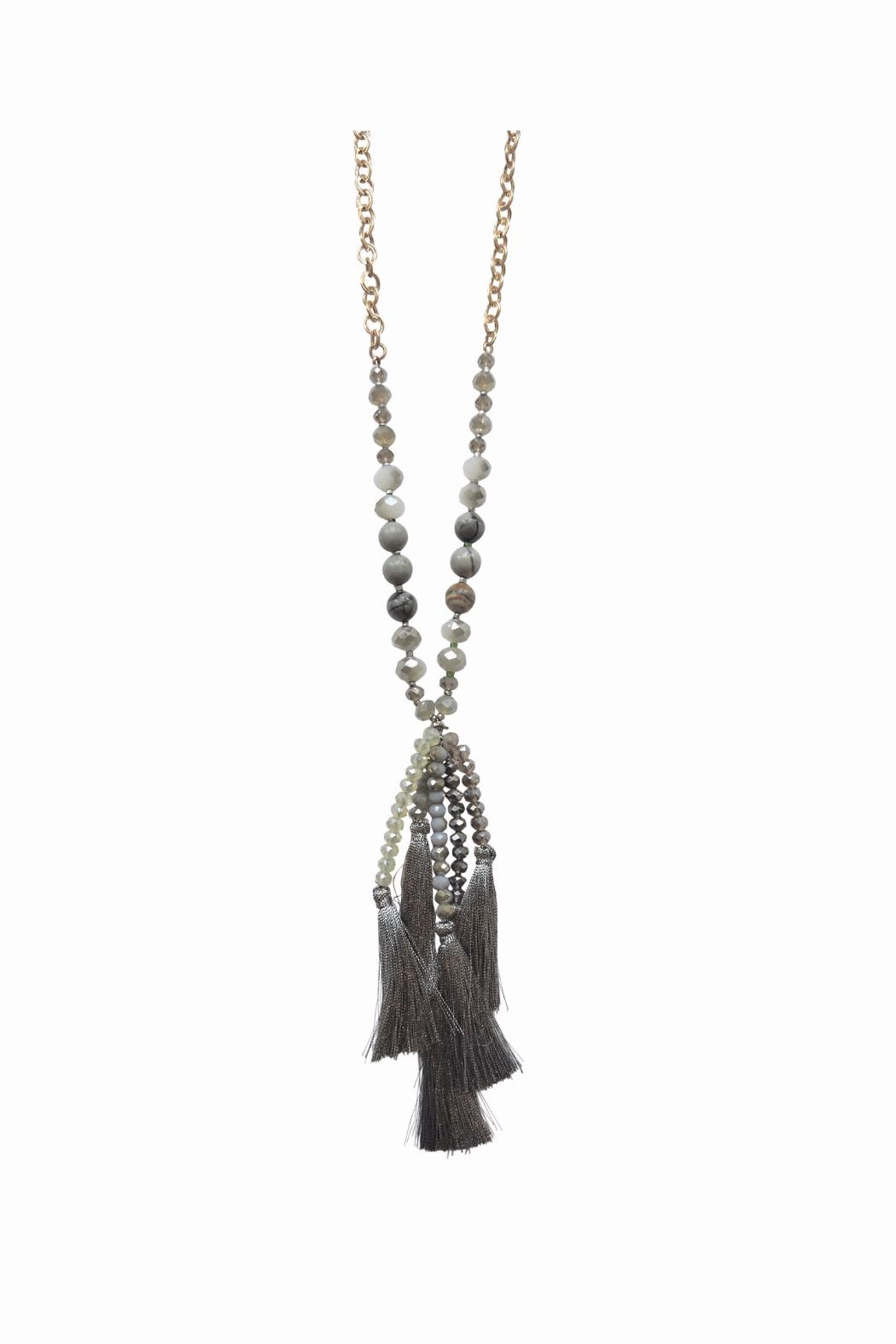 Lolly Ella Quinn Grey Tassel Necklace - Front Cropped Image