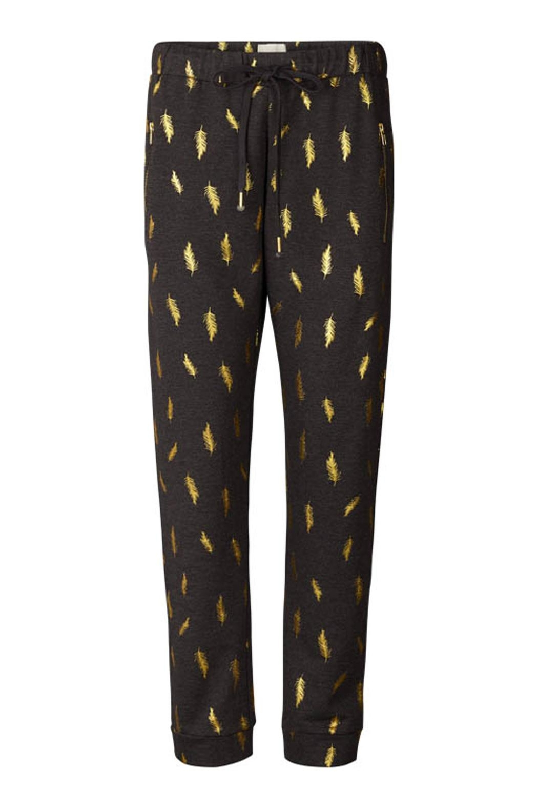 LOLLYS LAUNDRY Gold Feathered Sweatpants - Main Image