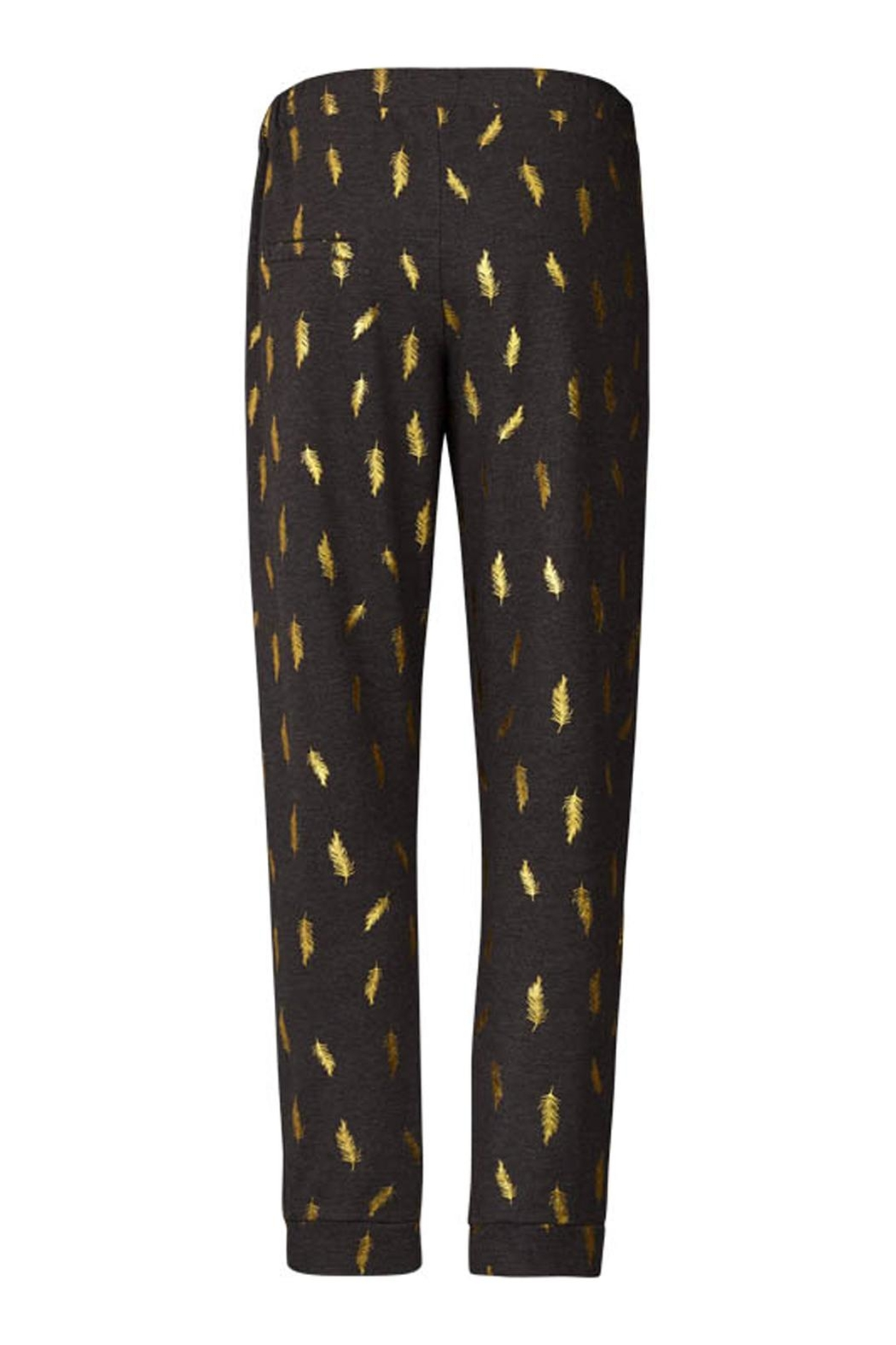 LOLLYS LAUNDRY Gold Feathered Sweatpants - Front Full Image
