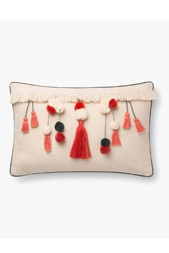 Loloi Ivory/coral Tassel Pillow - Product List Image