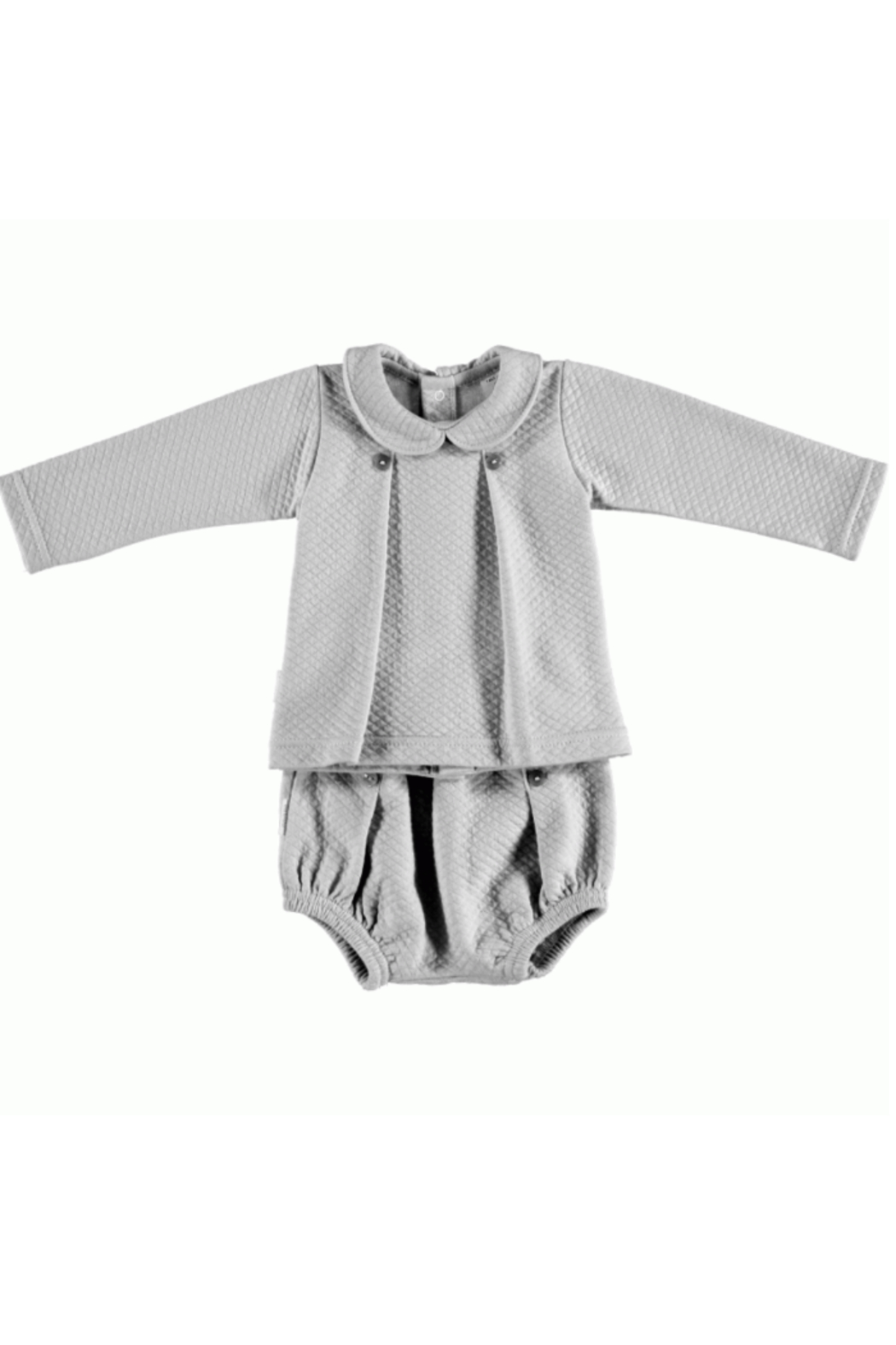 The Birds Nest LONDON SET W/ BOX PLEAT BABY COLLAR - GREY (6M) - Front Cropped Image