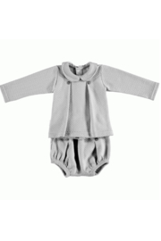 The Birds Nest LONDON SET W/ BOX PLEAT BABY COLLAR - GREY (6M) - Front cropped