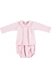 The Birds Nest LONDON SET W/ BOX PLEAT BABY COLLAR - PINK (6M) - Front cropped