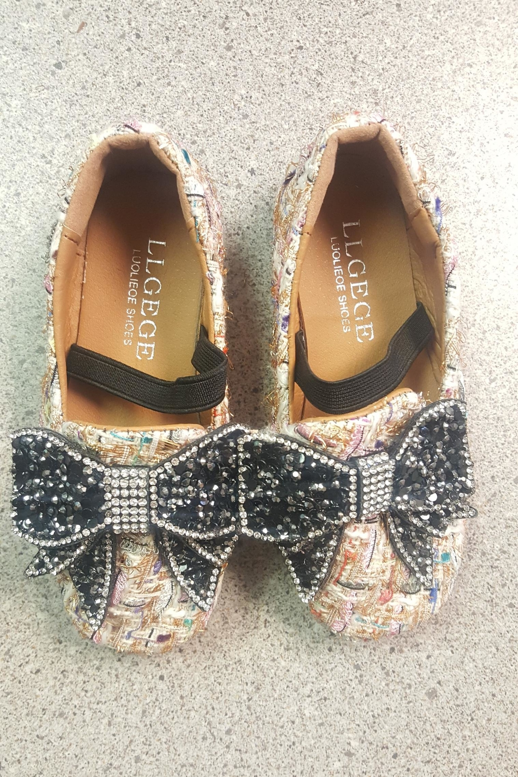 London Rock Kids Tweed Bow Flats - Front Full Image