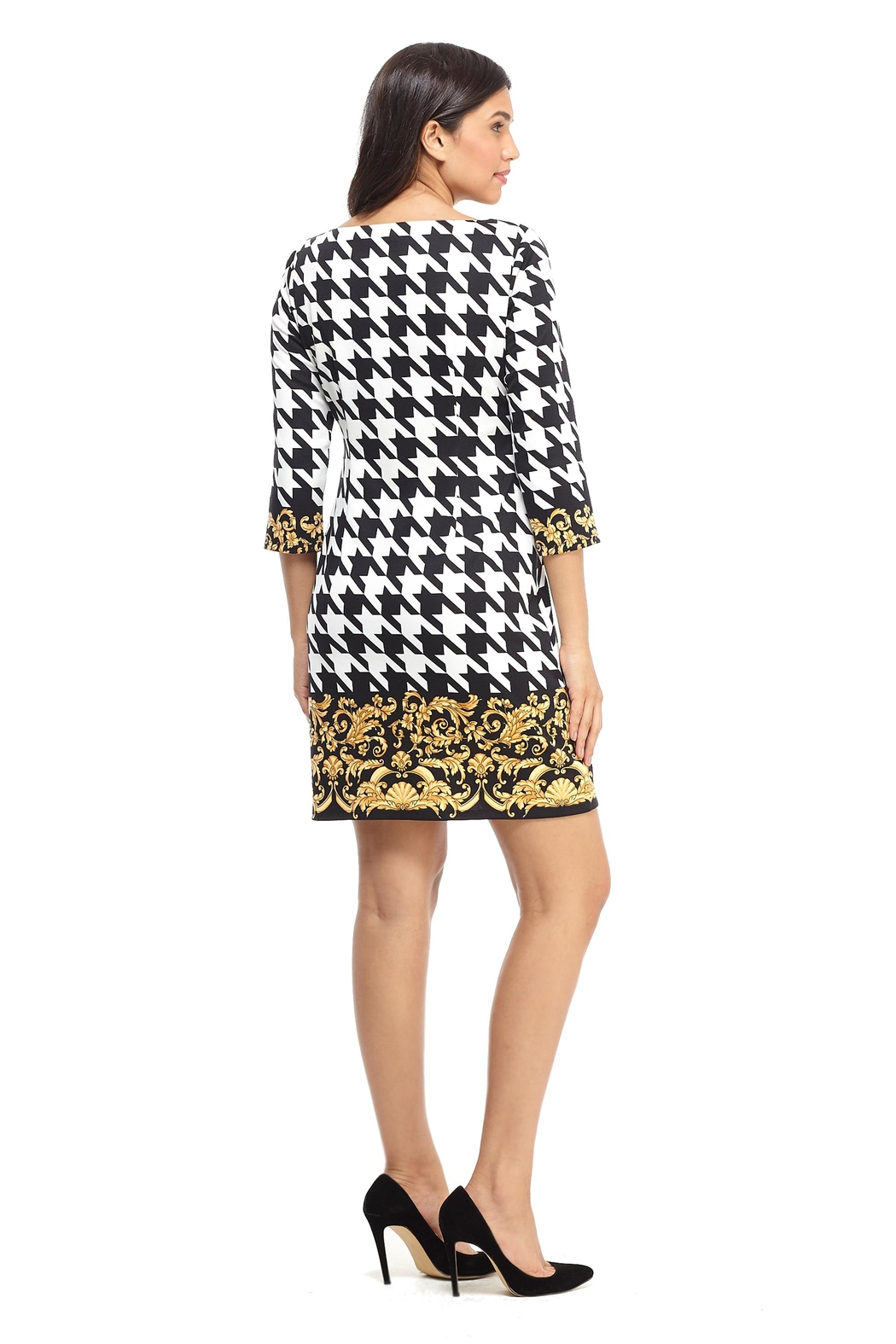 London Times Black/white Houndstooth Dress - Front Full Image