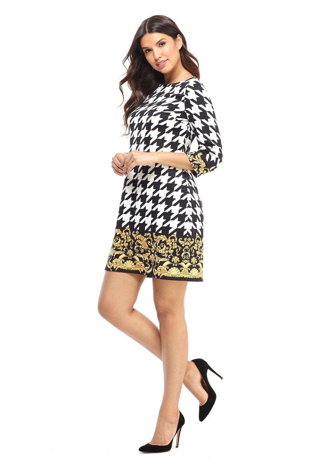 London Times Black/white Houndstooth Dress - Main Image
