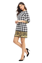 London Times Black/white Houndstooth Dress - Front cropped