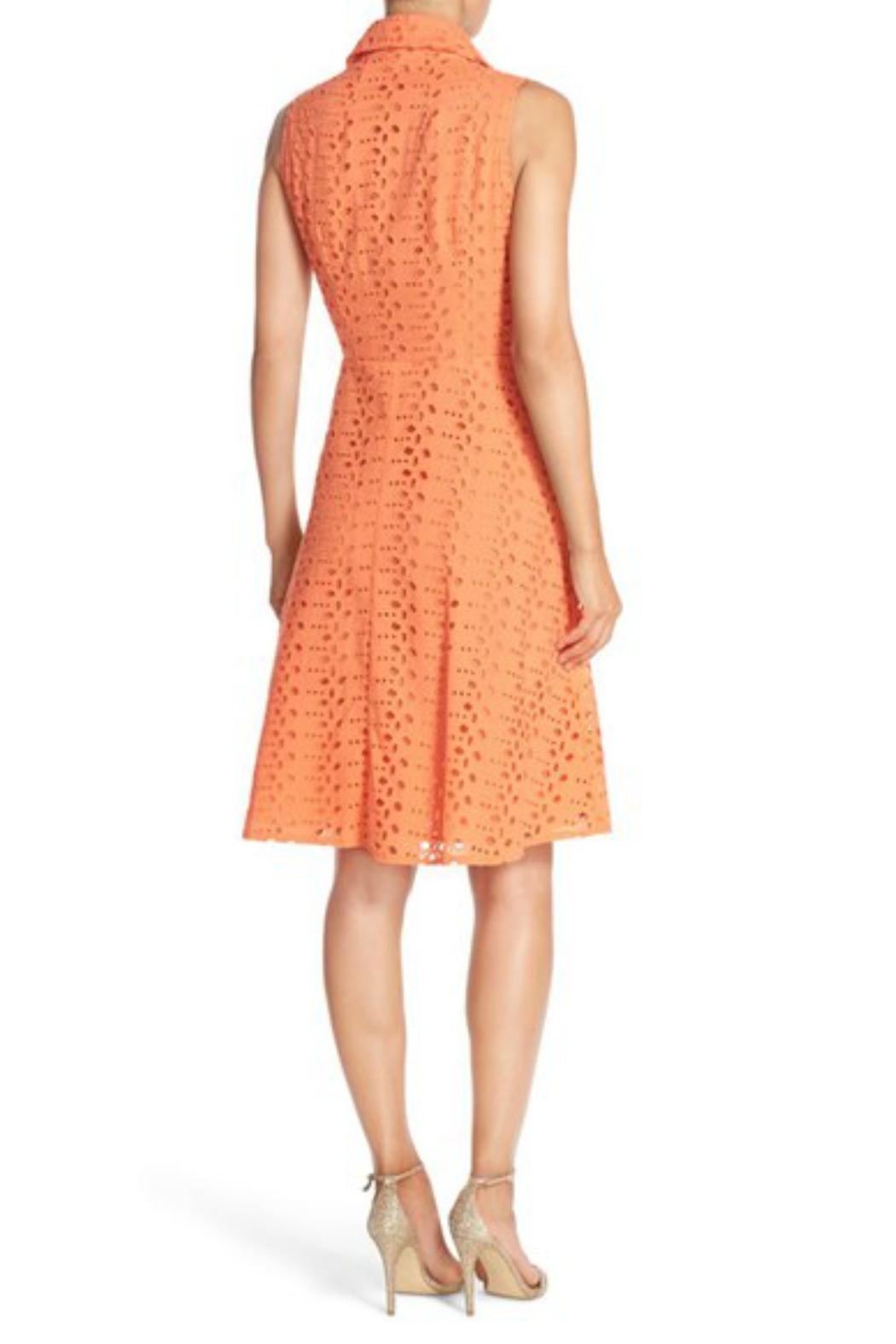 London Times Coral Eyelet Flare Dress - Front Full Image