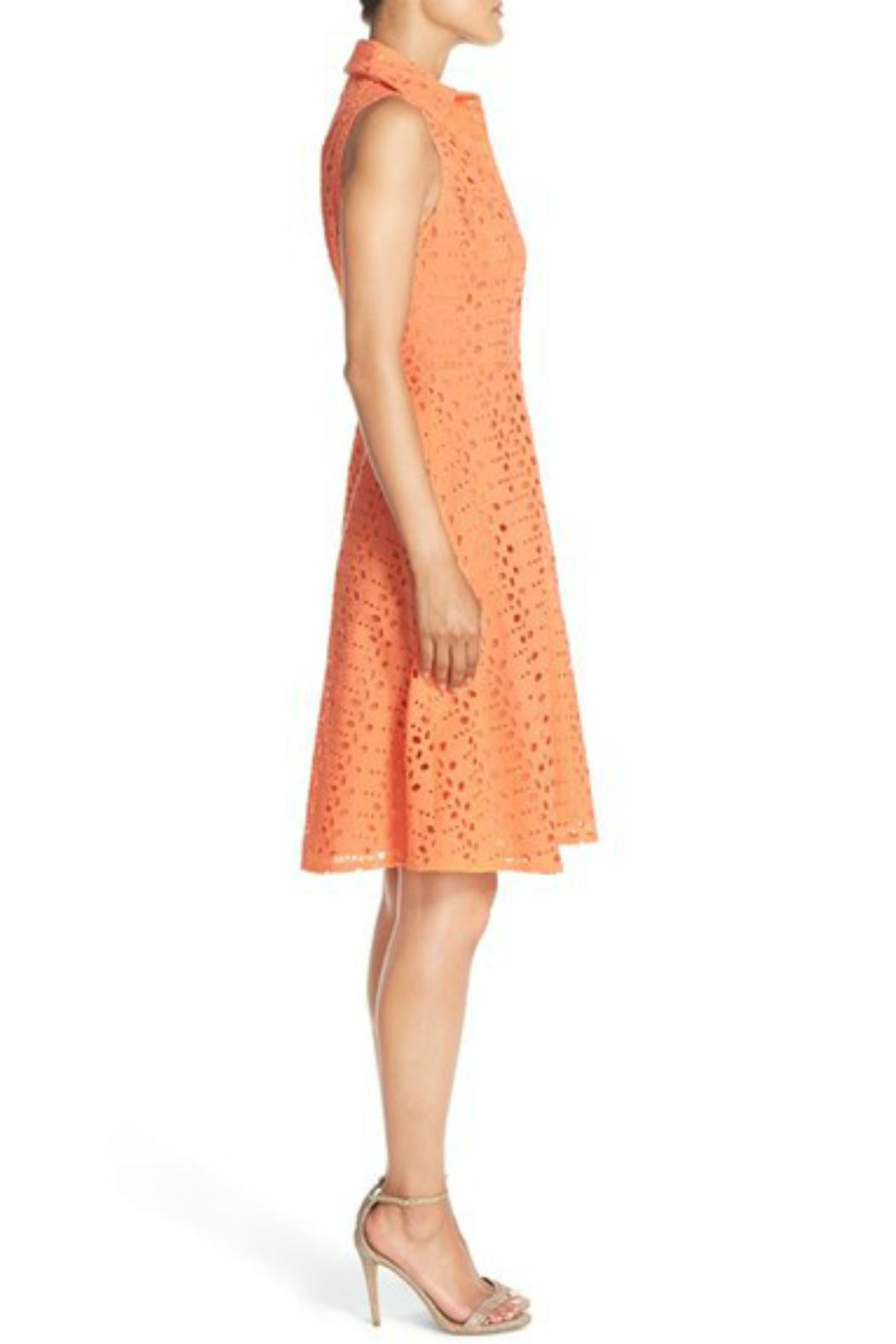 London Times Coral Eyelet Flare Dress - Back Cropped Image