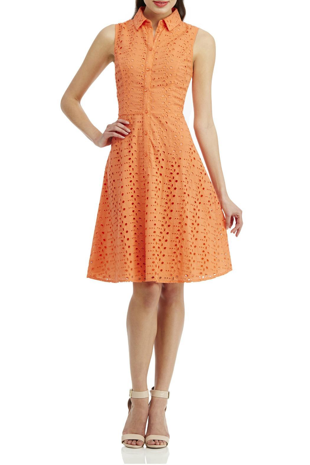London Times Coral Eyelet Flare Dress - Front Cropped Image