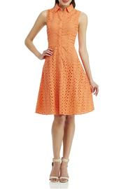 London Times Coral Eyelet Flare Dress - Front cropped