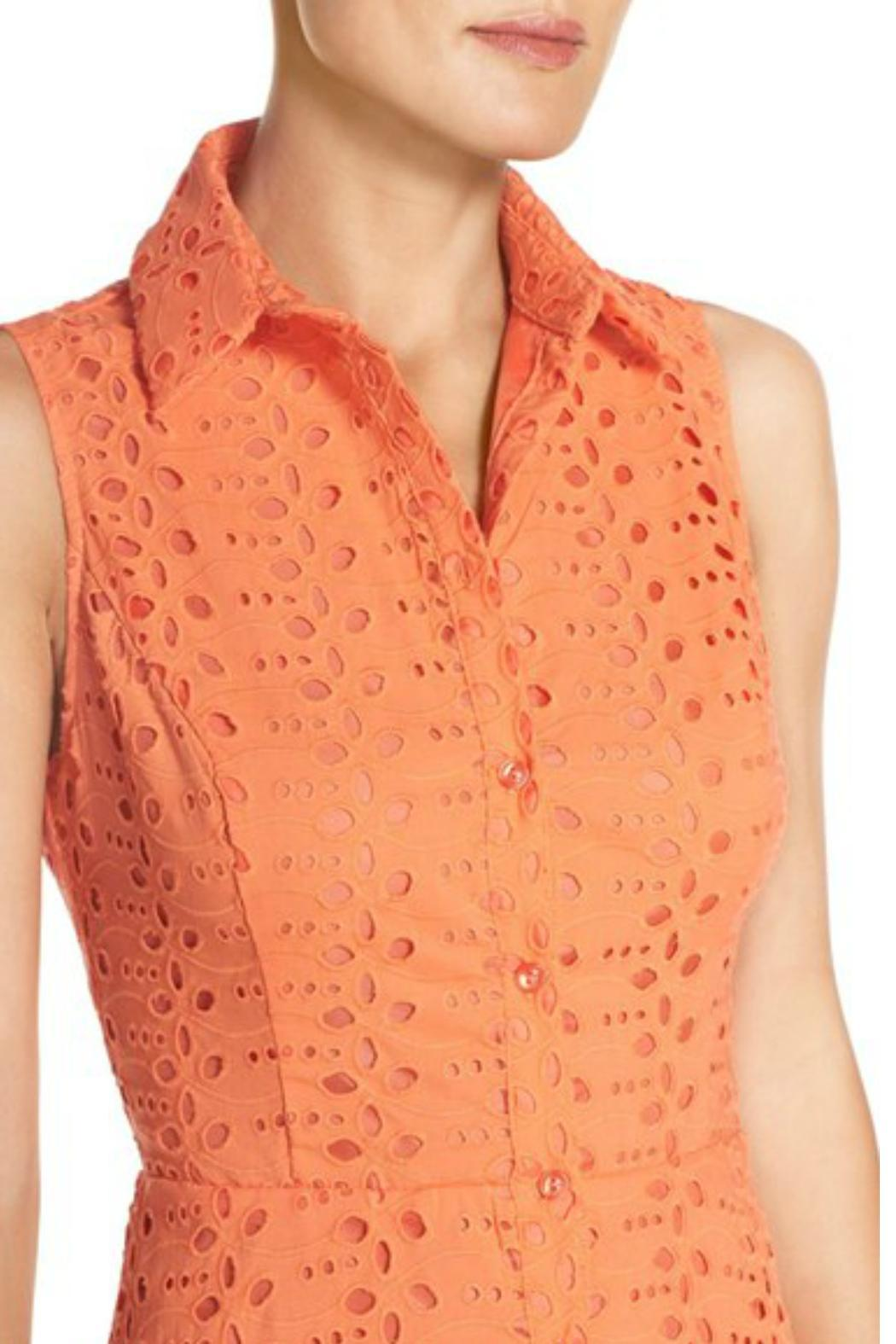 London Times Coral Eyelet Flare Dress - Side Cropped Image