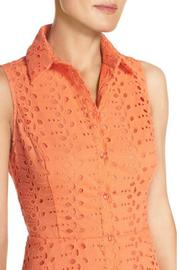 London Times Coral Eyelet Flare Dress - Side cropped