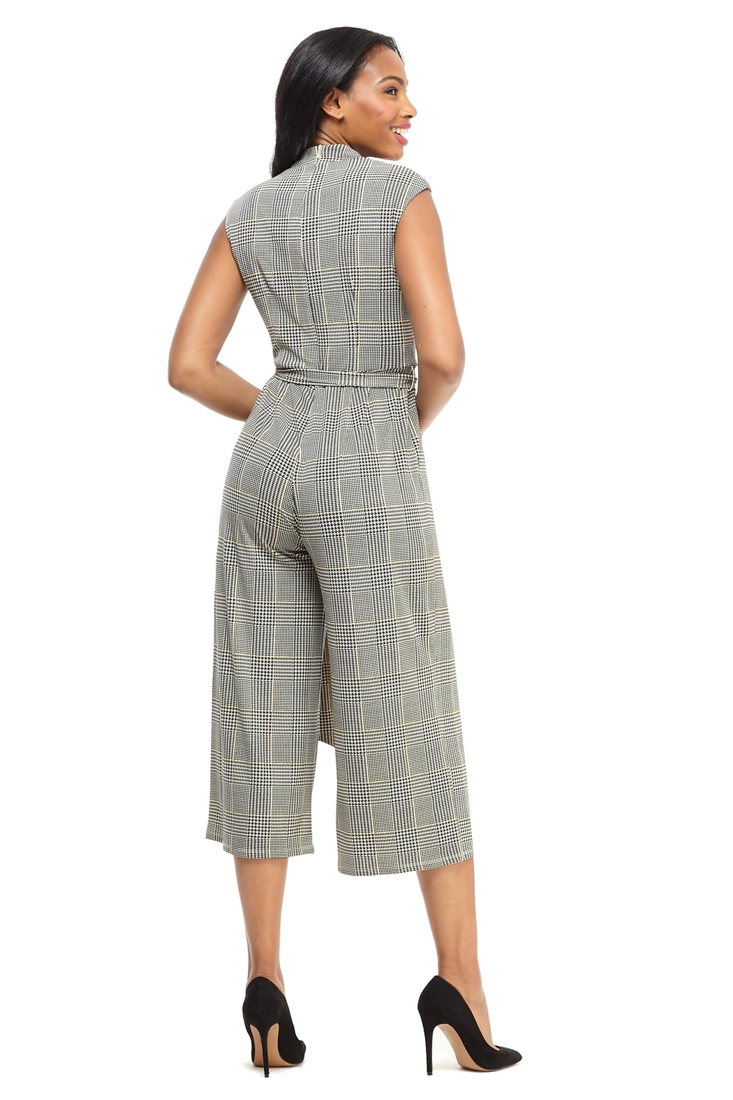 London Times Plaid Cropped Jumpsuit - Front Full Image