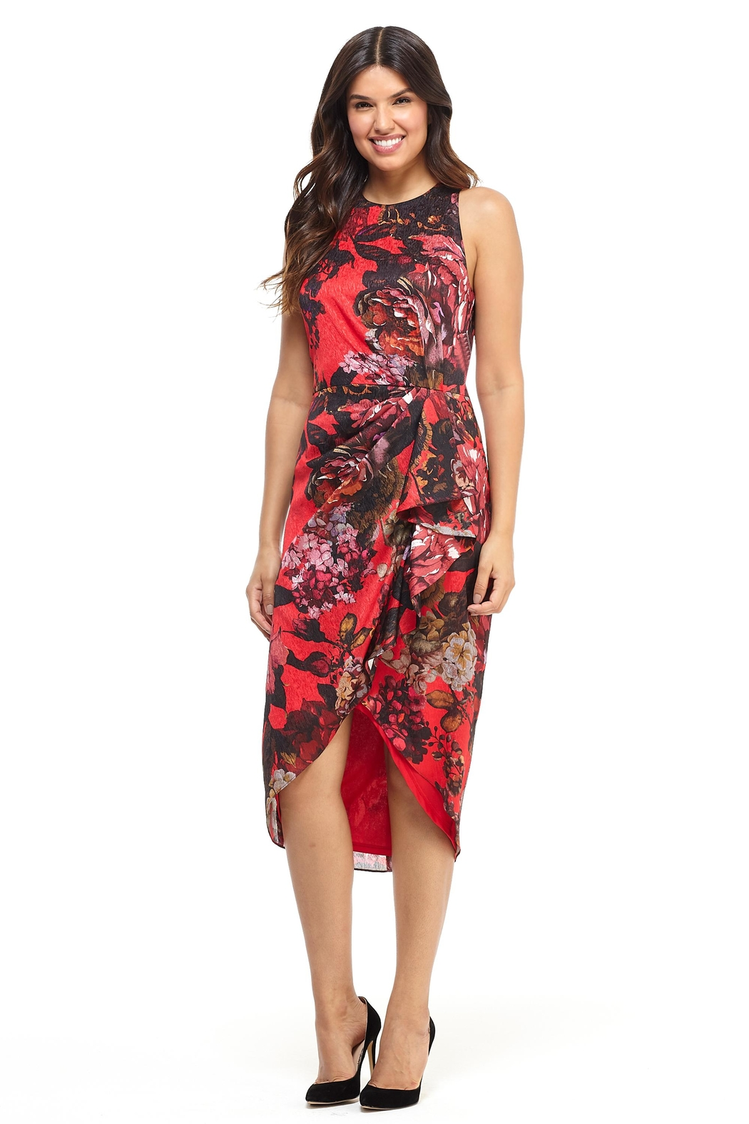 London Times Red Print Dress - Main Image