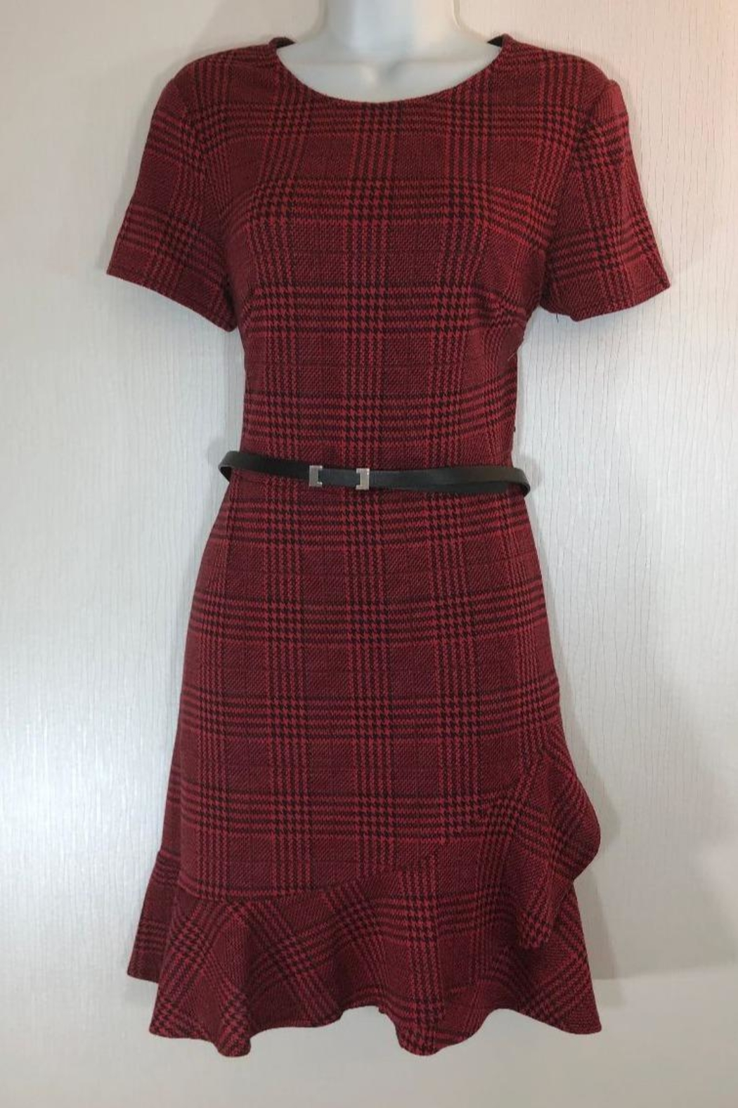 London Times Shortsleeve Plaid Dress - Front Cropped Image