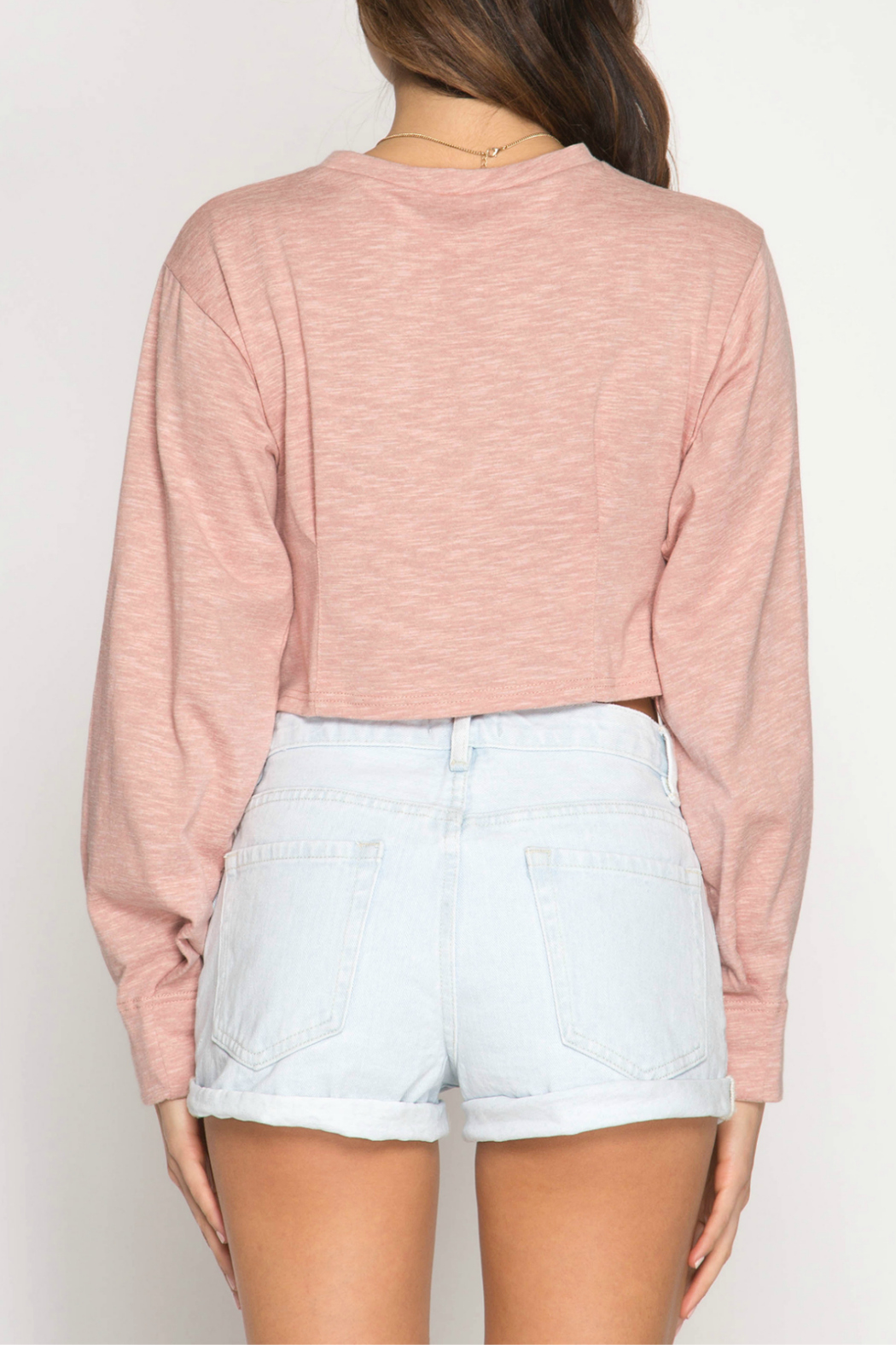 She + Sky Long Balloon Sleeve crop top with pintucking - Front Full Image