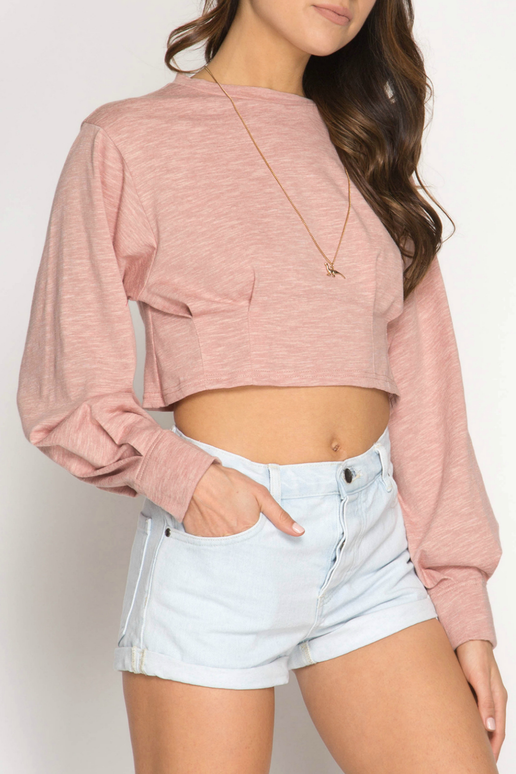 She + Sky Long Balloon Sleeve crop top with pintucking - Front Cropped Image