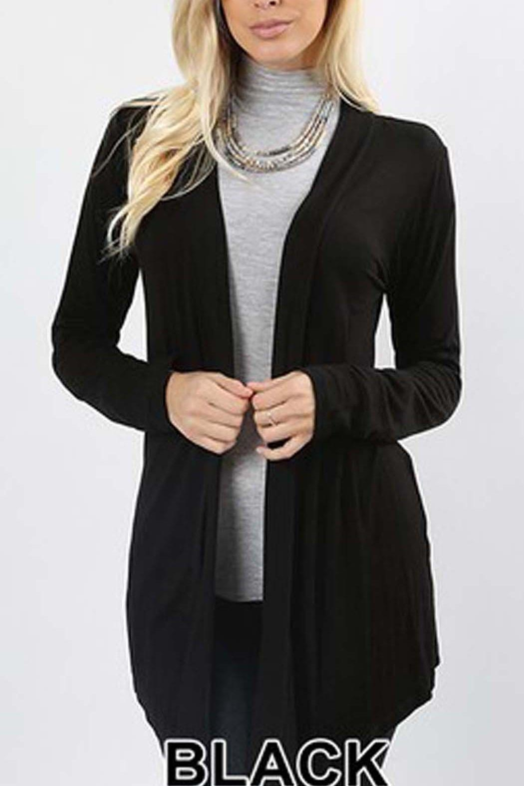 Zenana Outfitters Long Black Cardigan - Front Cropped Image
