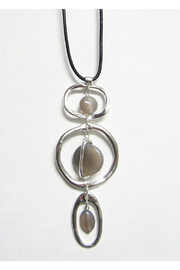 KIMBALS Long Black Cord With Silver Metal Pendant - Agate Drops - Product Mini Image