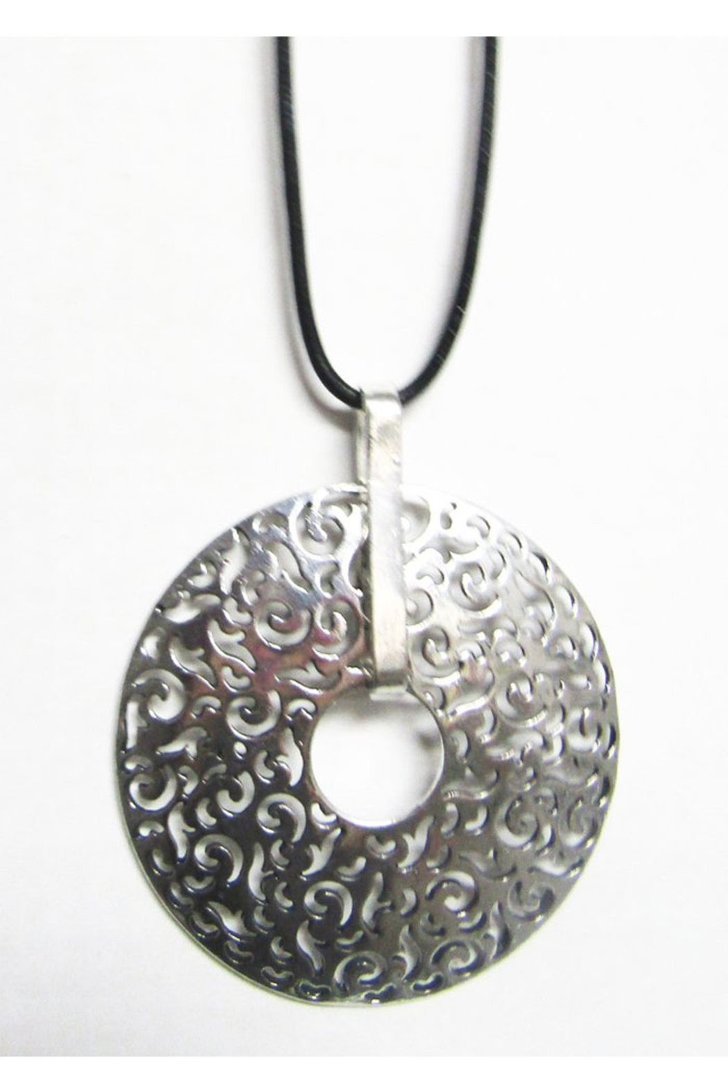 AUG Long Black Cord With Silver Metal Pendant -Filigree Circle - Main Image