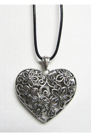 AUG Long Black Cord With Silver Metal Pendant - Filigree Heart - Product Mini Image